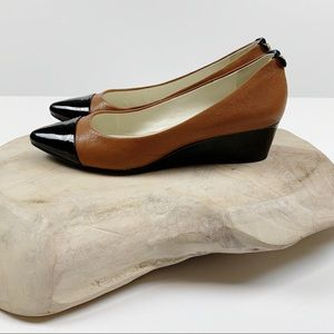 Anne Klein Akvalicity Brown Leather Wedge Size 7